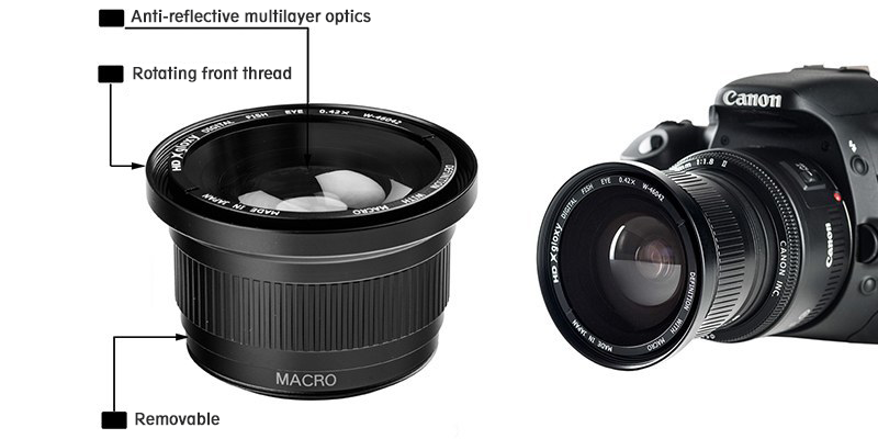 Fish-eye Lens with Macro for Nikon D5200
